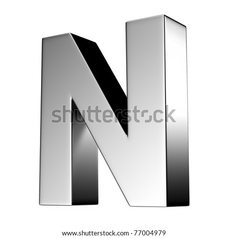 Letter N from chrome solid alphabet. There is a clipping path