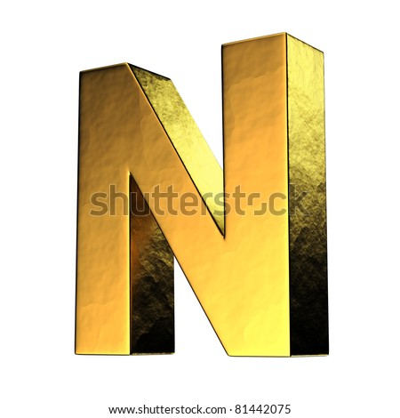 Letter N from gold solid alphabet. There is a clipping path