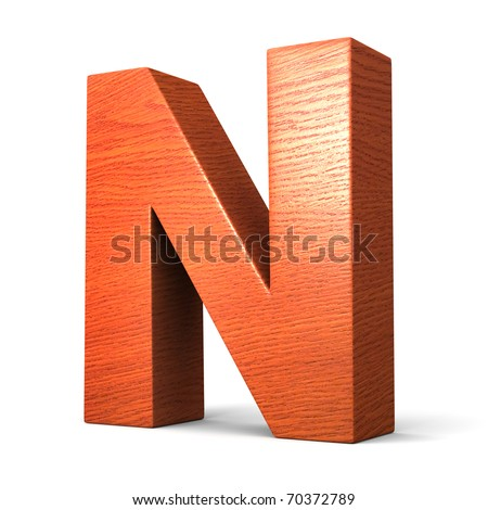 Letter N from redwood alphabet. There is a clipping path