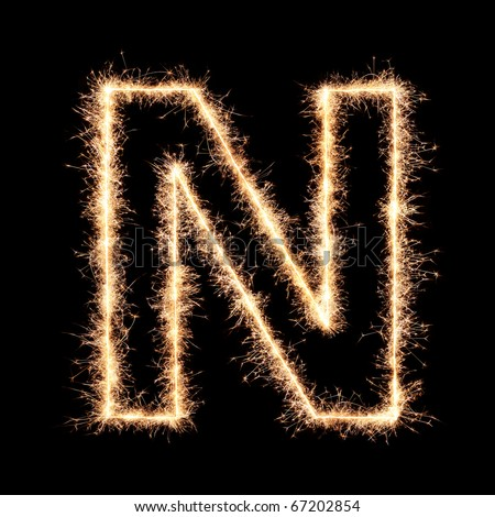 Letter N from sparklers alphabet.Very high resolution image. Happy New Year !