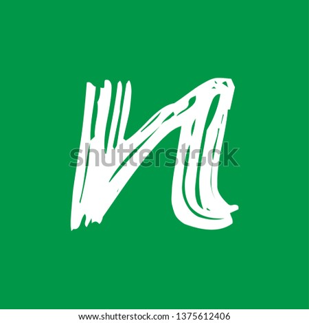 Letter n - Handwritten lower case, flat brush style, white over green background. For logotype, mark development, general design, cards, folders, advertisements and every typographic needs
