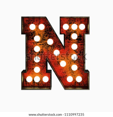 Letter N. Realistic Rusty Light Bulb Font in Metal Frame. 3d Rendering Illustration isolated on White Background.