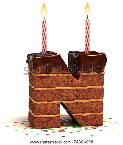 letter N shaped chocolate birthday cake with lit candle and confetti isolated over white background 3d illustration