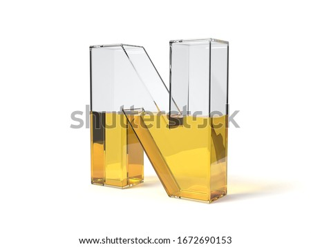letter N shaped glass half filled with yellow liquid. suitable for fuel, oil, honey and any other liquid themes. 3d illustration Foto stock ©
