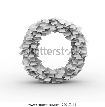 Letter O,alphabet from paper sheets in stack