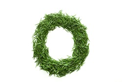 Letter O, alphabet made of green grass. Isolated on white background