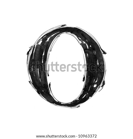 letter O. Alphabet symbol - grunge hand draw paint