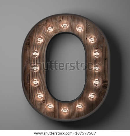 Letter O for sign with light bulbs
