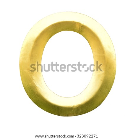 Letter O from Gold solid alphabet. There is a clipping path #323092271