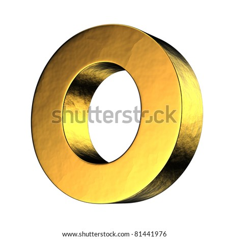 Letter O from gold solid alphabet. There is a clipping path