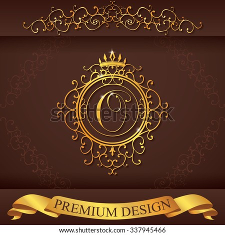 Letter O. Luxury Logo template flourishes calligraphic elegant ornament lines. Business sign, identity for Restaurant, Royalty, Boutique, Hotel, Heraldic, Jewelry, Fashion, illustration.