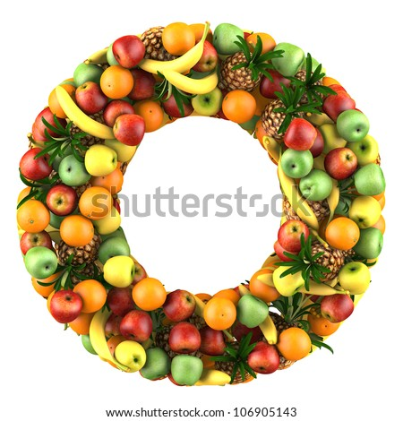 Letter - O made of fruits. Isolated on a white.