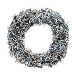 Letter 'O' made of screws isolated in white background