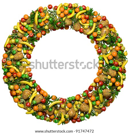 Letter - O, or number - zero, made from 3d fruits. Isolated on a white.