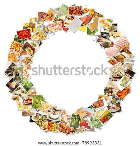 Letter O with Food Collage Concept Art