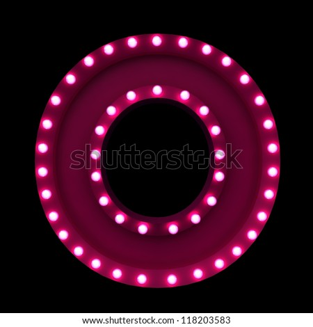 letter O with neon lights isolated on black background - stock photo