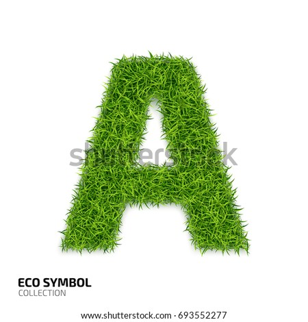 Letter of grass alphabet. Grass letter A isolated on white background. Symbol with the green lawn texture. Eco symbol collection.