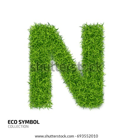 Letter of grass alphabet. Grass letter N isolated on white background. Symbol with the green lawn texture. Eco symbol collection.