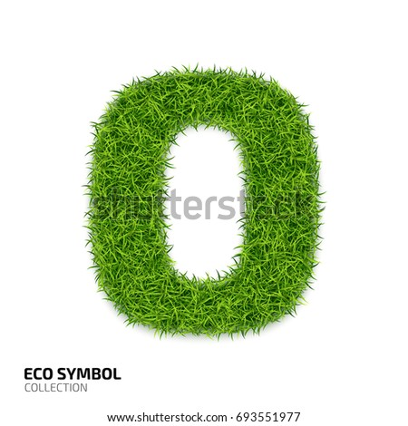 Letter of grass alphabet. Grass letter O isolated on white background. Symbol with the green lawn texture. Eco symbol collection. illustration