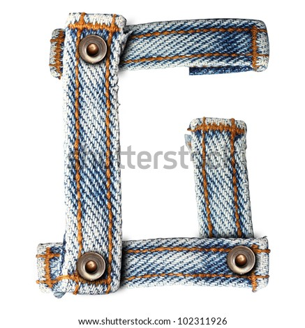 letter of jeans alphabet G on white background (Save paths) for design work