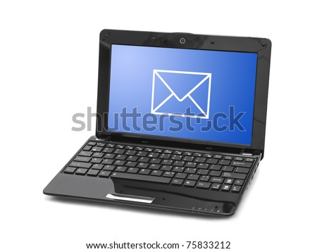 Letter on notebook screen isolated on white background