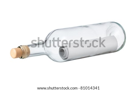 letter or message in a bottle on a white background