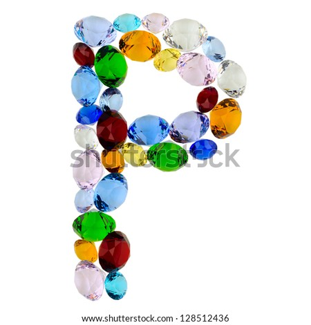 Letter P made of different colorful gems