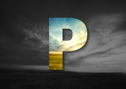 Letter P  Made of landscape Typographic, Monogram