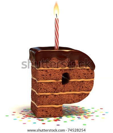 letter P shaped chocolate birthday cake with lit candle and confetti isolated over white background 3d illustration