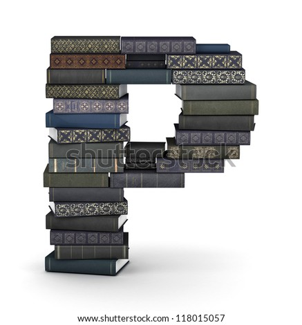 Letter P, stacked from many  books in pile