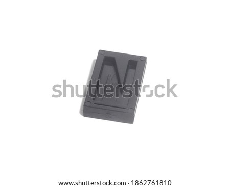Letter Press N isolated on white background Foto stock ©