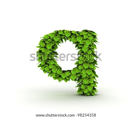 Letter  q, alphabet of green leaves, small caps
