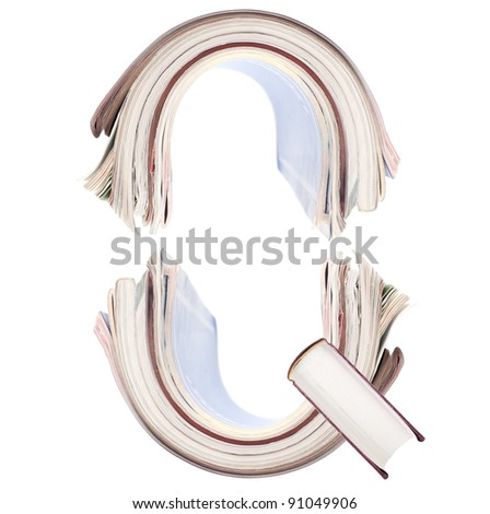 Letter Q from book spines alphabet set
