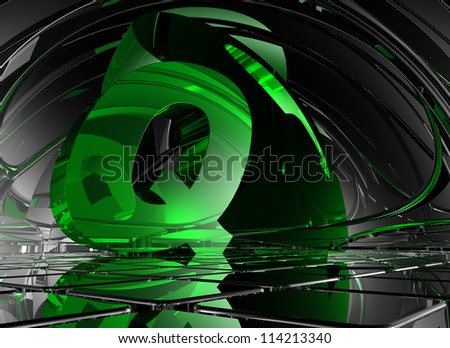 letter q in abstract futuristic space - 3d illustration