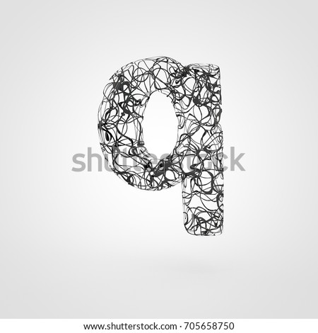 Letter Q Lowercase Created On A 3d Printer 3d Render Font Made Of