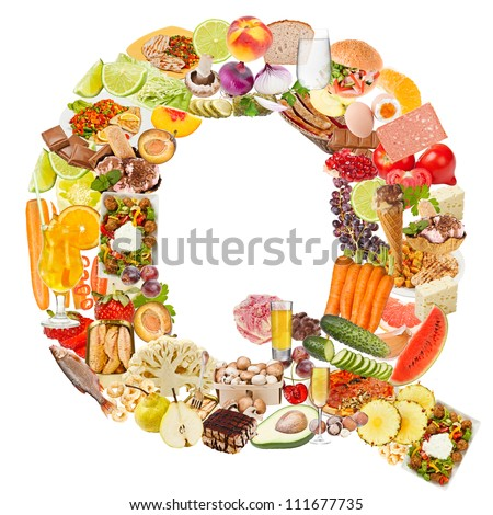 Letter Q made of food isolated on white background