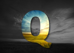 Letter Q Made of landscape Typographic, Monogram