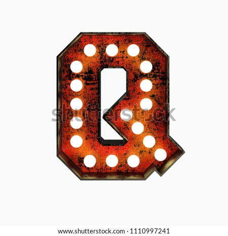 Letter Q. Realistic Rusty Light Bulb Font in Metal Frame. 3d Rendering Illustration isolated on White Background.