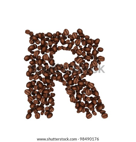 Letter R. Alphabet from coffee beans. isolated on white.