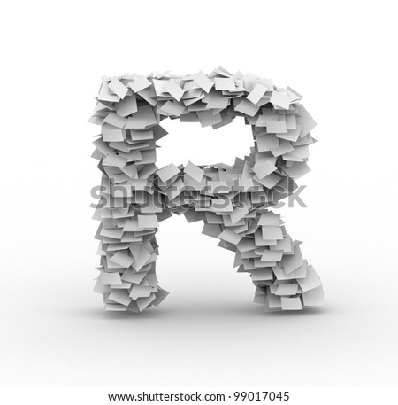 Letter R,alphabet from paper sheets in stack Stock fotó ©