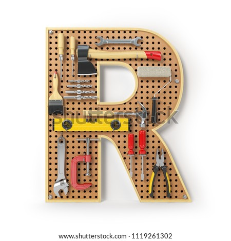 Letter R. Alphabet from the tools on the metal pegboard isolated on white.  3d illustration Stock fotó ©