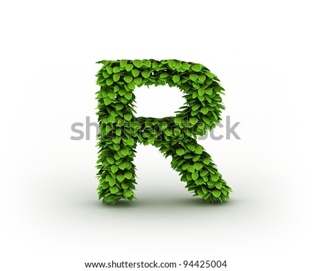 Letter R , alphabet of green leaves isolated on white background