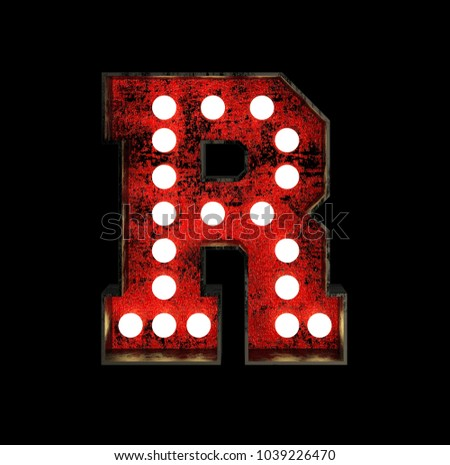 Letter R. Broadway Style Light Bulb Font made of rusty metal frame. 3d Rendering isolated on Black Background