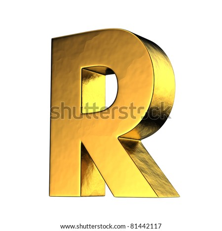 Letter R from gold solid alphabet. There is a clipping path