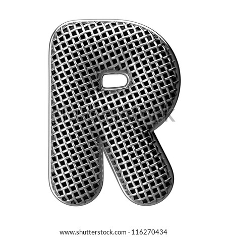 Letter R from round microphone style alphabet. There is a clipping path