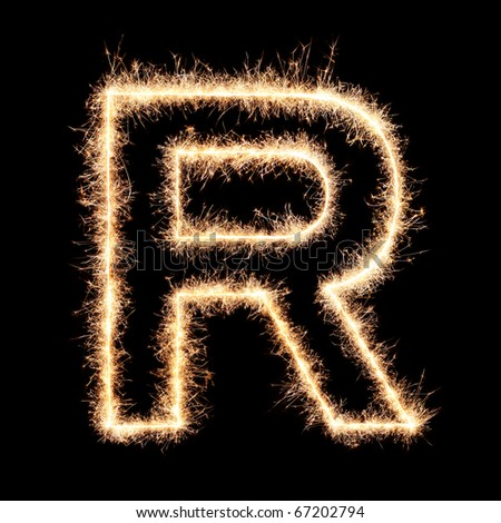 Letter R from sparklers alphabet.Very high resolution image. Happy New Year !