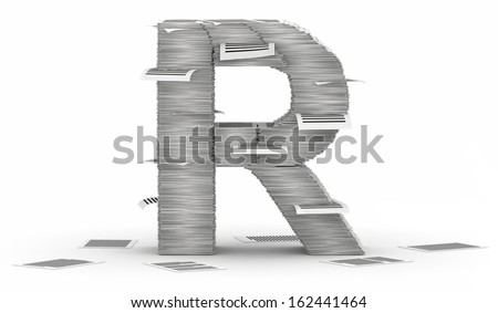 Letter R, from stacks of paper pages font Stock fotó ©