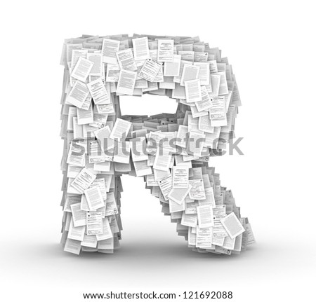Letter R, from thousands of documents font Stock fotó ©