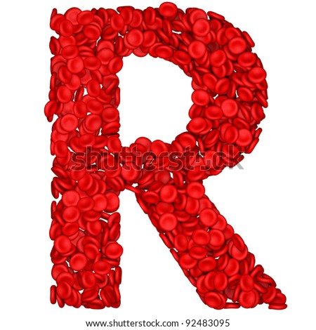Letter - R made from red blood cells. Isolated on a white. - stock photo