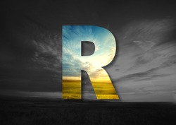 Letter R Made of landscape Typographic, Monogram